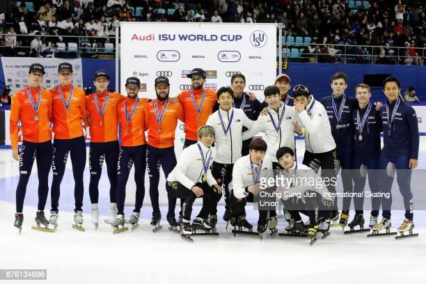 First Place Seo YiRa Kim DoKyoum Kwak YoonGy and Lim HyoJun of South Korea second place Sjinkie Knegt Daan Breeuwsma Itzhak de Latt and Mark Prinsen...
