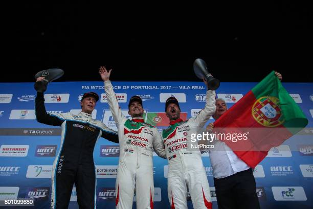 First place, THED BJORK second place, TIAGO MONTEIRO third place, during Podium ceremony of the Race 2 of FIA WTCC 2017 World Touring Car...