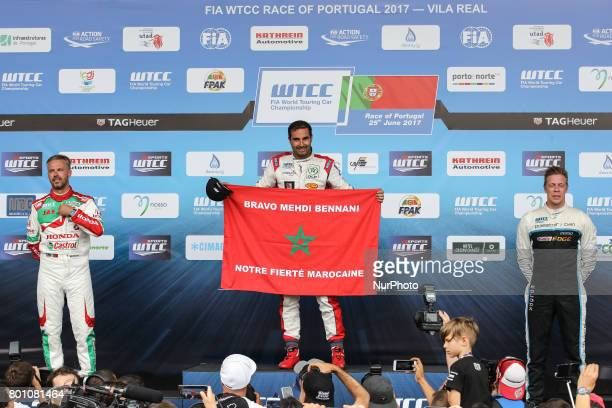First place, TIAGO MONTEIRO second place and THED BJORK third place in the Podium ceremony of the Race 1 of FIA WTCC 2017 World Touring Car...