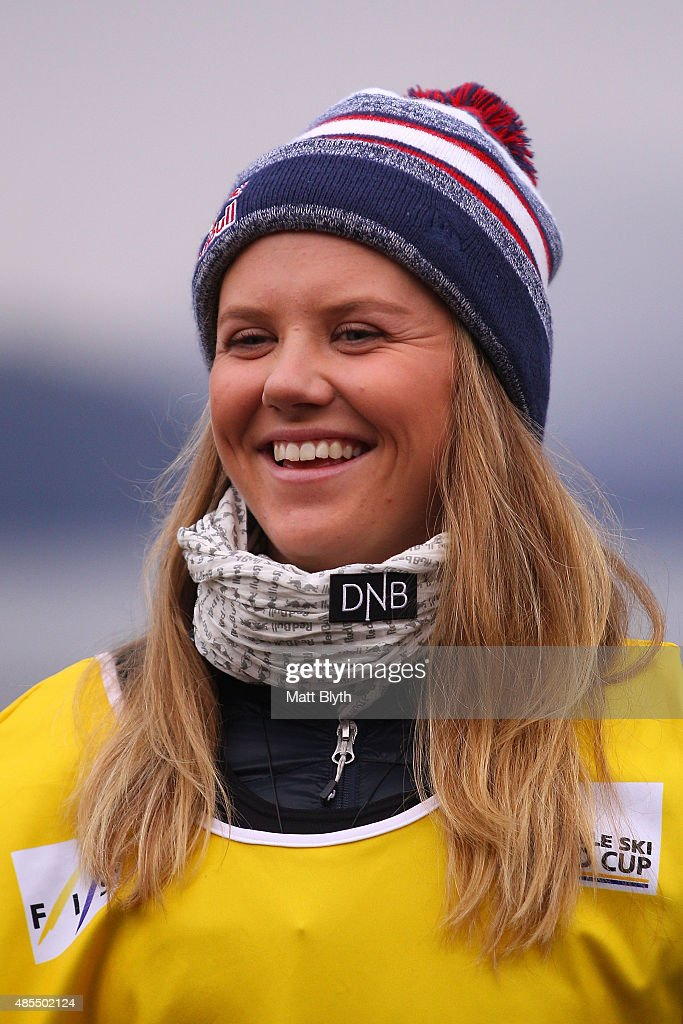 First place Tiril Sjaastad Christiansen of Norway poses on the podium during the medal ceremony for the FIS Freestyle Ski World Cup Slopestyle Finals during the Winter Games NZ on August 28, 2015 in Wanaka, New Zealand.