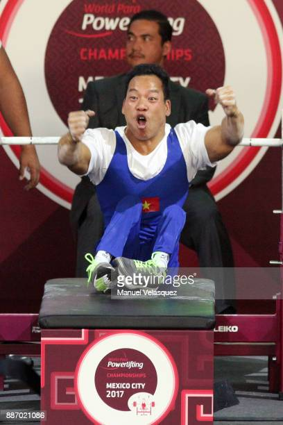 First place Van Cong Le of Vietnam celebrates during the Men's Up to 49Kg Group A Category as part of day 3 of the World Para Powerlifting...