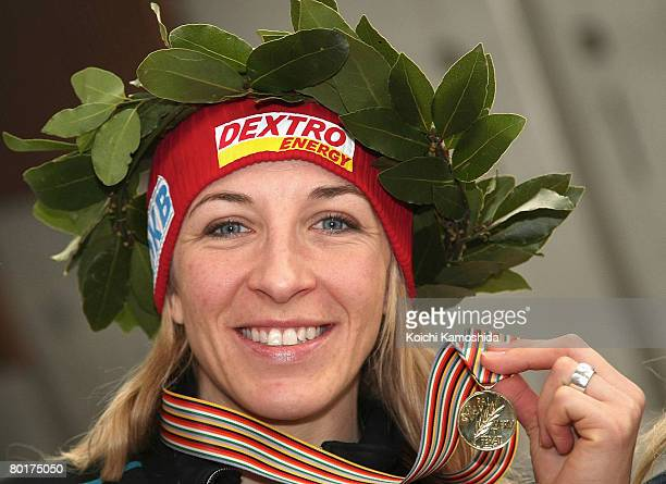 First place winner Anni Friesinger of Germany celebrates in the Women's 1000m during the ISU Single Distances Speed Skating Championships 2008 at...