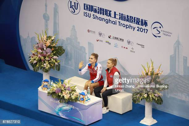First place winner Elena Radionova of Russia reacts after performs the Ladies Free skating duirng the 2017 Shanghai Trophy at the Oriental Sports...