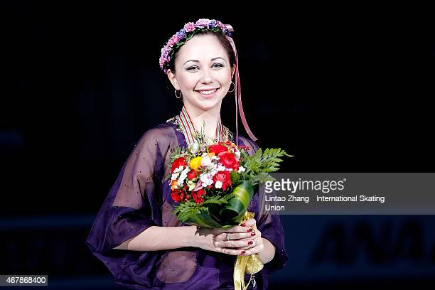 First place winner Elizaveta Tuktamysheva of Russia pose on the podium after the medals ceremony of the Ice Dance-Ladies Free Skating on day four of...