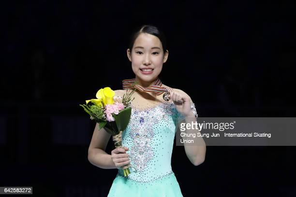 First place winner Mai Mihara of Japan pose on the podium after the medals ceremony of the Ladies skating during ISU Four Continents Figure Skating...