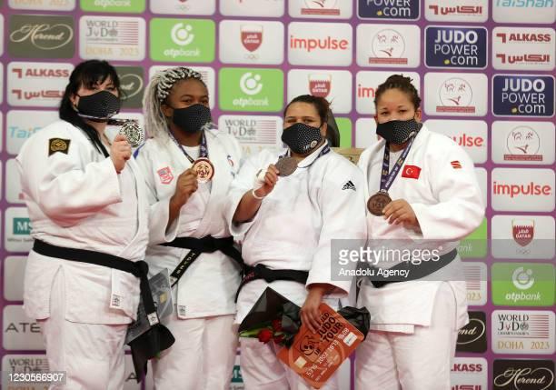 First place winner Romane Dicko of France, second place winner Iryna Kindzerska of Azerbaijan, third place winners Turkish Kayra Sayit and Tunisian...