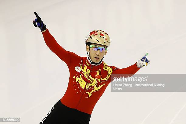First place winner Wu Dajing of China celebrates after winning the men's 500m final at the ISU World Cup Short Track speed skating event at the...