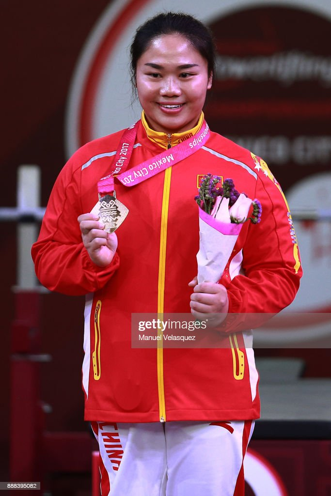 First Place Yujiao Tan of China celebrates with her medal during the Women's Upt to 67Kg Group A Category as part of the World Para Powerlifting Championship Mexico 2017 at Juan de la Barrera Olympic Gymnasium on December 6, 2017 in Mexico City, Mexico.