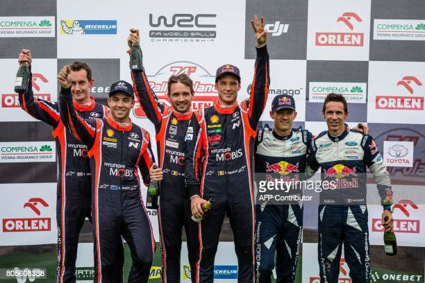 First placed Belgian Thierry Neuville and his codriver Nicolas Gilsoul second placed Hayden Paddon of New Zealand and his codriver British Sebastian...