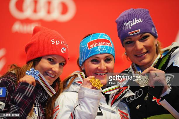 First placed Elisabeth Goergl of Austria second placed Julia Mancuso of the United States of America and third placed Maria Riesch of Germany...