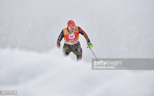 First placed Eric Frenzel of Germany competes during the nordic combined triple world cup on January 31 2016 in Seefeld Austria / AFP / APA / BARBARA...