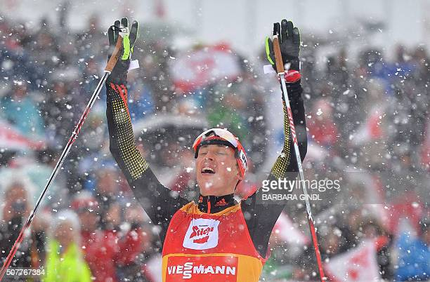 First placed Eric Frenzel of Germany reacts at the nordic combined triple world cup on January 31 2016 in Seefeld Austria / AFP / APA / BARBARA GINDL...