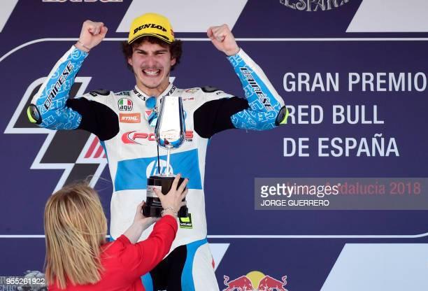 First placed Forward Team's Italian rider Lorenzo Baldassarri celebrates on the podium after the Moto2 race of the Spanish Grand Prix at the Jerez...