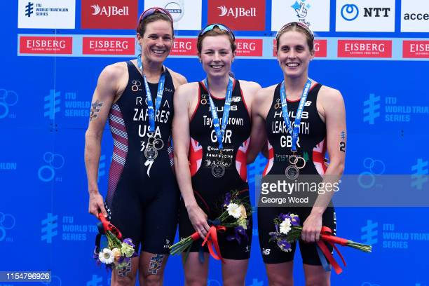 First placed Georgia TaylorBrown of Great Britain second placed Katie Zaferes of the United States and third placed Jessica Learmonth of Great...