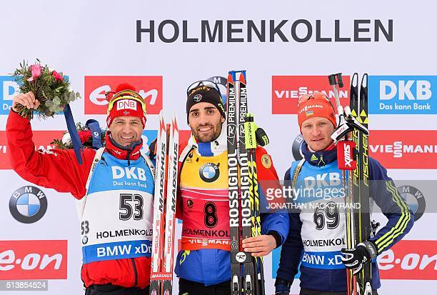 First placed Martin Fourcade of France celebrates with seconded place Ole Einar Bjoerndalen of Norway and third placed Serhij Semenov of Ukraine...