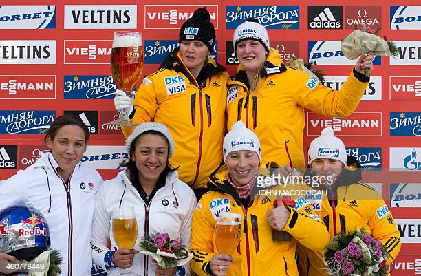 First placed Sandra Kiriasis and Franziska Fritz of Germany second placed Elena Meyers and Lolo Jones of the USA and third placed Anja...
