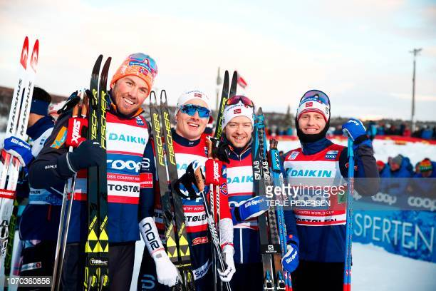 First placed team of Norway Emil Iversen Finn Hagen Krogh Sjur Rothe and Martin Johnsrud Sundby are pictured after the men´s Cross Country Skiing...