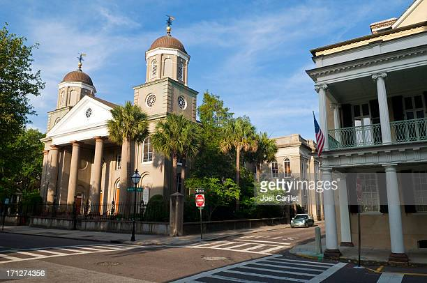 church and architecture at tradd and meeting streets in charleston - presbyterianism stock photos and pictures