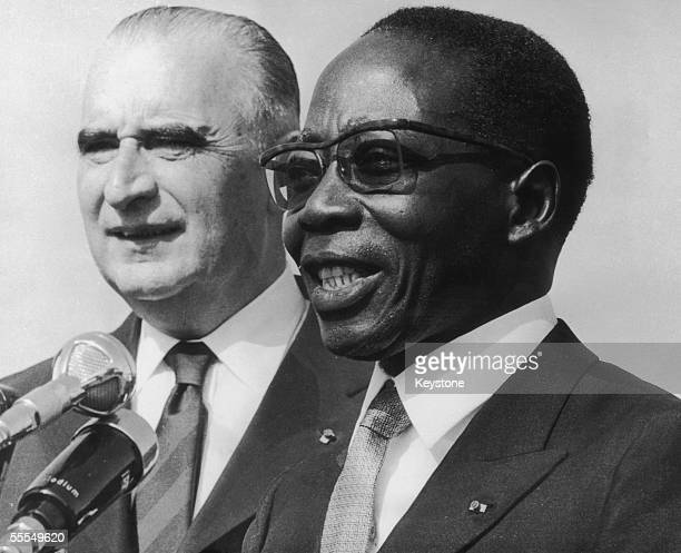 First president of Senegal, Leopold Sedar Senghor with French president Georges Pompidou at Dakar airport, 10th February 1971.