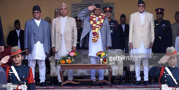 First president of the Federal Democratic Republic of Nepal Ram Baran Yadav takes the salute as chief justice Kedar Prasad Giri Vice President...