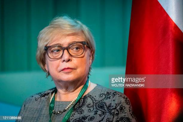 First President of the Supreme Court of Poland Malgorzata Gersdorf attends a press during her last day as Supreme Court President in Warsaw, on April...