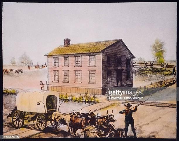 First Public School in Chicago Illinois USA HandColored Lantern Slide circa 1844