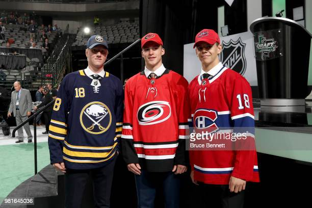 First Rasmus Dahlin of the Buffalo Sabres, second Andrei Svechnikov of the Carolina Hurricanes and third Jesperi Kotkaniemi of the Montreal Canadiens...