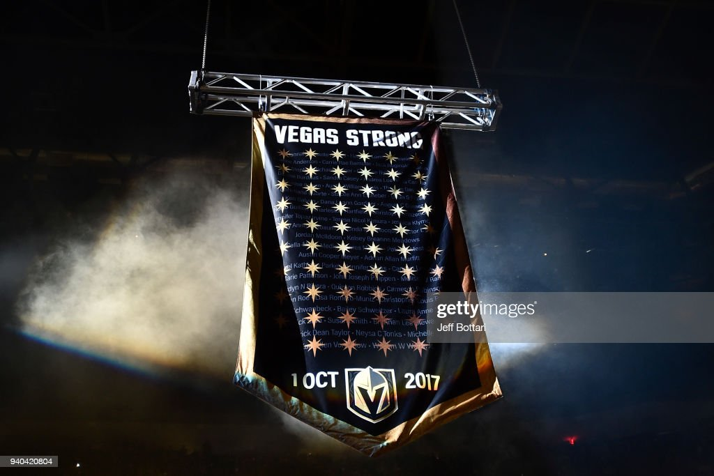 First responders and victims of the mass shooting that took place at the Route 91 Harvest country music festival on October 1, 2017 are honored prior to the Golden Knights' game against the San Jose Sharks at T-Mobile Arena on March 31, 2018 in Las Vegas, Nevada. On October 1, 2017 Stephen Paddock killed 58 people and injured more than 450 after he opened fire on a large crowd at the Route 91 Harvest country music festival. The massacre is one of the deadliest mass shooting events in U.S. history.at T-Mobile Arena on March 31, 2018 in Las Vegas, Nevada.