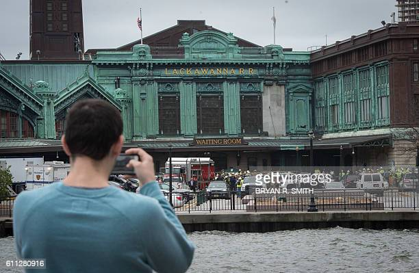 First responders are on the scene as multiple people were injured in a train crash at the Hoboken Train Terminal on September 29 2016 in New Jersey...