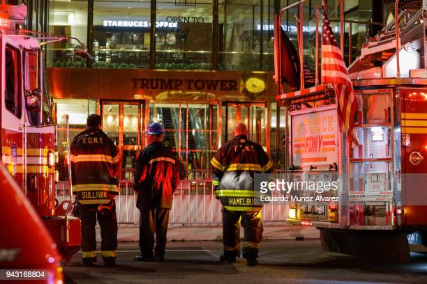 First responders assess the scene of a fire at Trump Tower on April 7 2018 in New York City One person has reportedly died and four firefighters were...