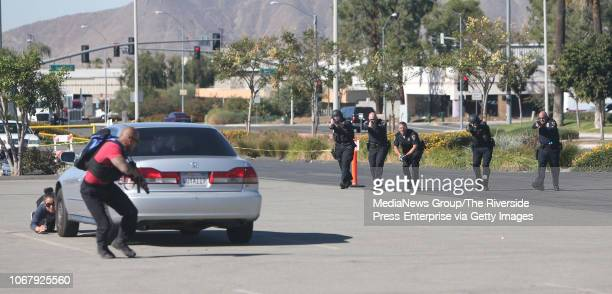 First responders engage in a shootout with a suspect during an active shooter training exercise at Bourns in Riverside on Wednesday November 14 2018...