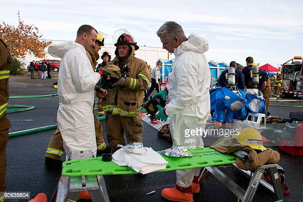 First responders participate in an exercise to practice response to an emergency situation at the Steveston High School in Richmond BC Pretend...