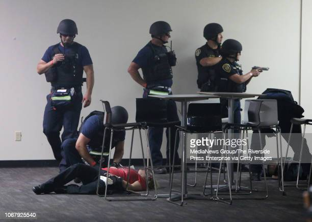 First responders tend to a victim as part of an active shooter training exercise at Bourns in Riverside on Wednesday November 14 2018 About 150...
