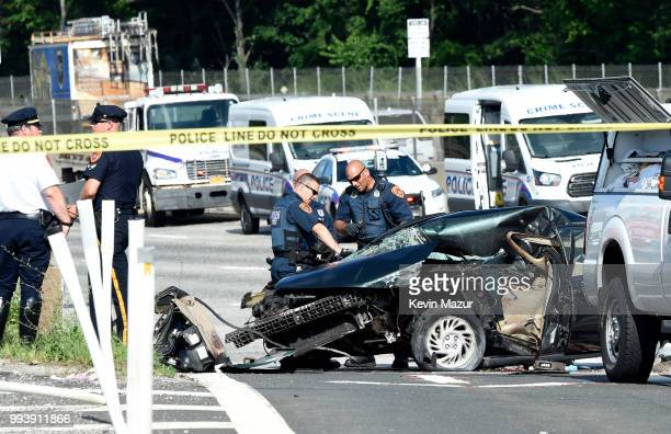First responders work on the scene of a fatal car accident on Sunrise Highway on July 5 2018 in West Babylon New York According to police a...