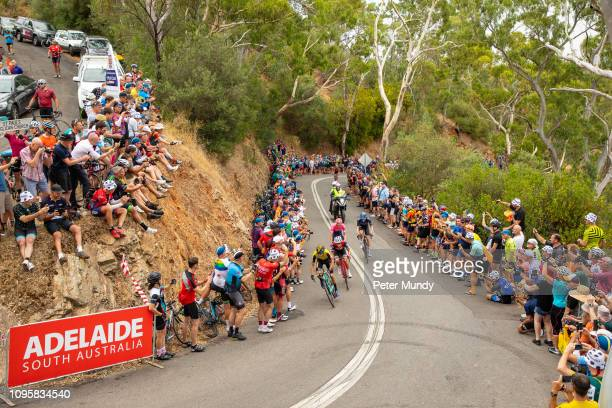 First riders across the line at the King of the Mountain on Corkscrew road were George Bennett of New Zealand and Team Jumbo-Visma, Richie Porte of...