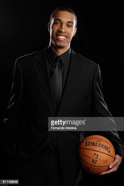 First round draft pick Courtney Lee of the Orlando Magic addresses the media during a press conference at the RDV Sportsplex on June 27, 2008 in...