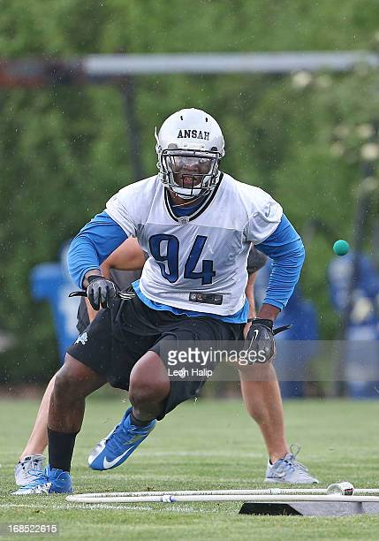 First round draft pick Ezekiel Ansah of the Detroit Lions goes thru the afternoon drills during the first day of Rookie Camp on May 10 2013 in Allen...