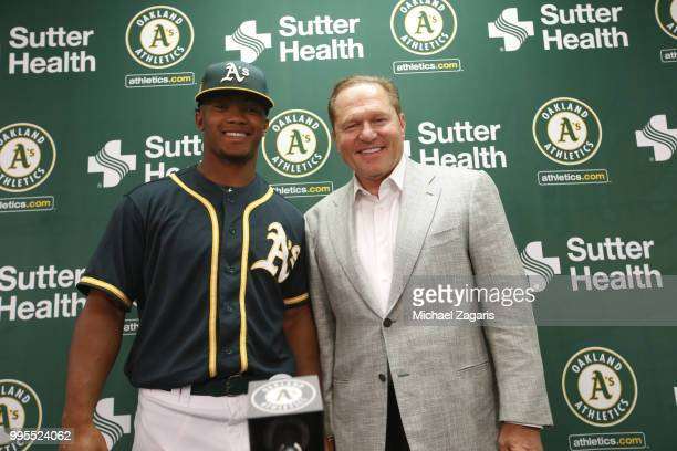 First round draft pick Kyler Murray of the Oakland Athletics and Agent Scott Boras stand together after a press conference at the Oakland Alameda...