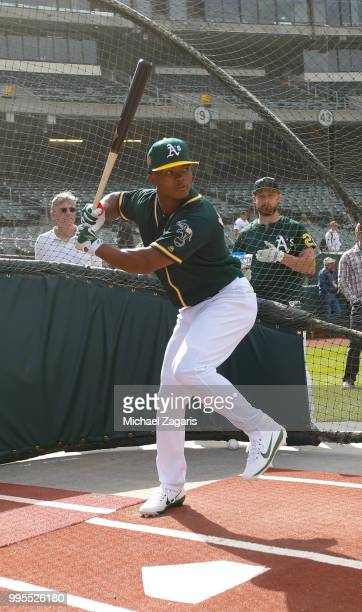 First round draft pick Kyler Murray of the Oakland Athletics takes batting practice after signing his contract at the Oakland Alameda Coliseum on...
