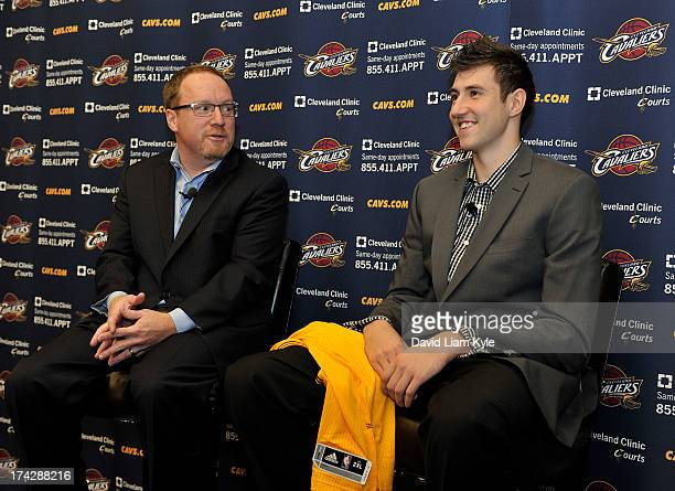 First round draft pick Sergey Karasev of the Cleveland Cavaliers is introduced to the media to the alongside Vice President of Basketball Operations...