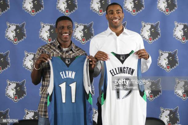 NBA first round draft selections Jonny Flynn and Wayne Ellington show off their new jerseys to the media at a press conference on June 26 2009 at the...