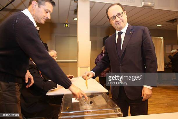 First round of the departmental elections 2015. The President Francois Hollande in the voting office in Tulle on March 22, 2105.