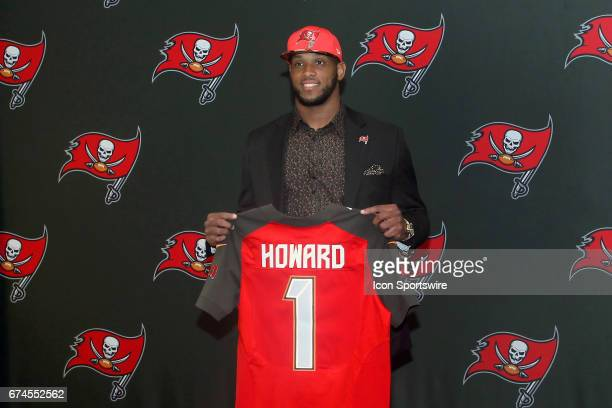 First round pick O J Howard holds up a Buccaneers jersey after the conclusion of the O J Howard 1st Round Draft Pick Press Conference on April 28...