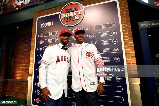 First round picks Jordon Adell and Hunter Greene pose for a photo during the 2017 Major League Baseball Draft at Studio 42 at the MLB Network on...