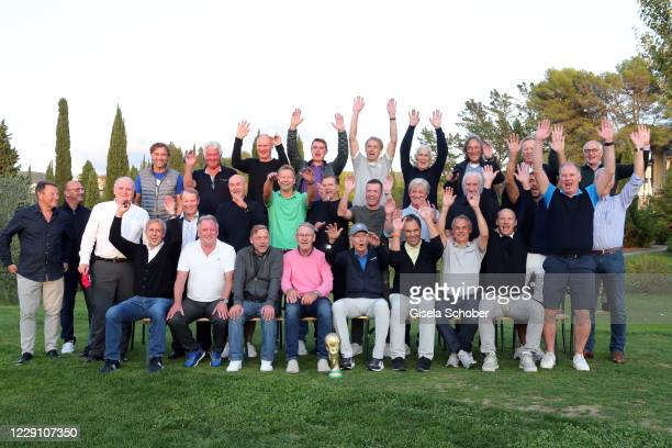 "First row: Pierre Littbarski, Andreas ""Andi"" Brehme, Thomas ""Icke"" Haessler, Eberhard Vogel, Franz Beckenbauer, Holger Osieck, Olaf Thon, Hans..."