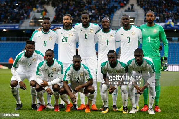 Senegal's Papy Djilobodji Senegal's Henri Saivet Senegal's Youssou Sabaly Senegal's Sadio Mane Senegal's Pape Alioune Ndiaye and Second row Senegal's...