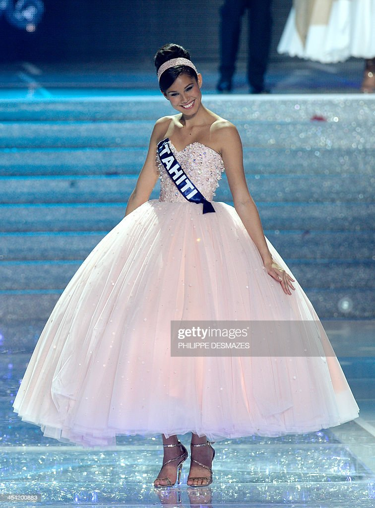 First runner-up to Miss Orleans Flora Coquerel, Miss Tahiti Mehiata Riaria, poses during the 67th edition of the beauty contest in the northeastern city of Dijon on December 7, 2013.
