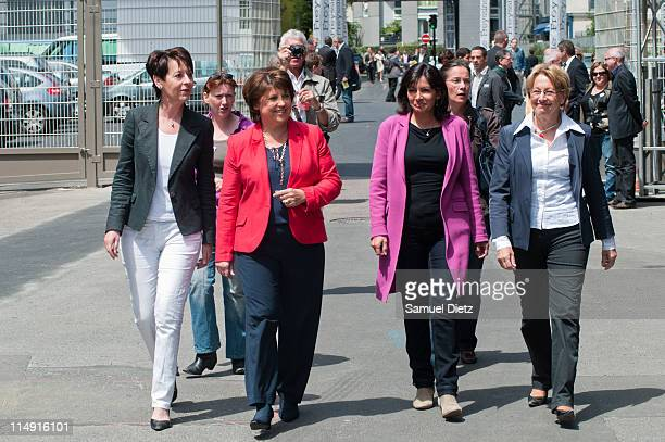 First Secretary and probable candidate to the French Socialist Party primary elections Martine Aubry and Marylise Lebranchu arrive at the French...
