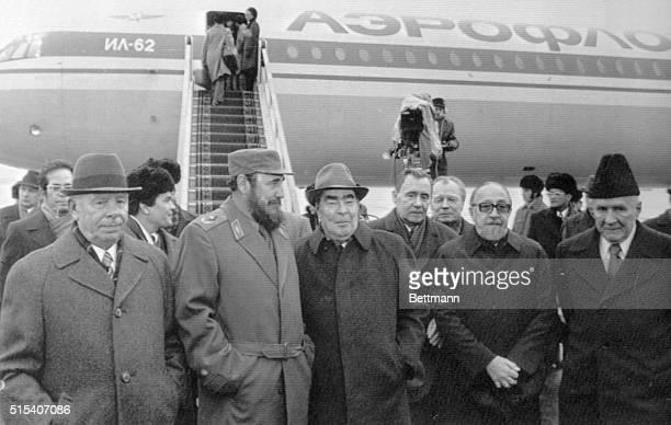 First Secretary of the Cuban Communist party Fidel Castro and General Secretary of the CPSU Leonid Brezhnev Nikolai Podgorny from right Alexei...