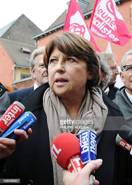 First Secretary of the French Socialist Party Martine Aubry answers journalists's questions on November 6 2010 in the French northern city of Lille...